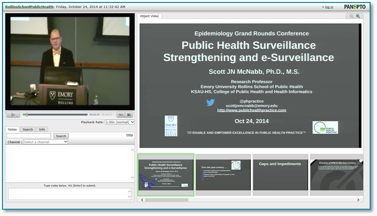 Public Health Surveillance - Panopto Video Presentation Software