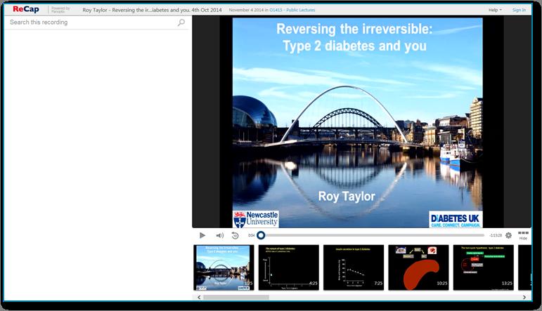 Umkehrung von Typ-2-Diabetes - Panopto Video-Präsentationssoftware