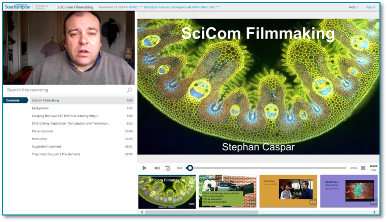 SciComm Filmmaking - Panopto Video Presentation Software