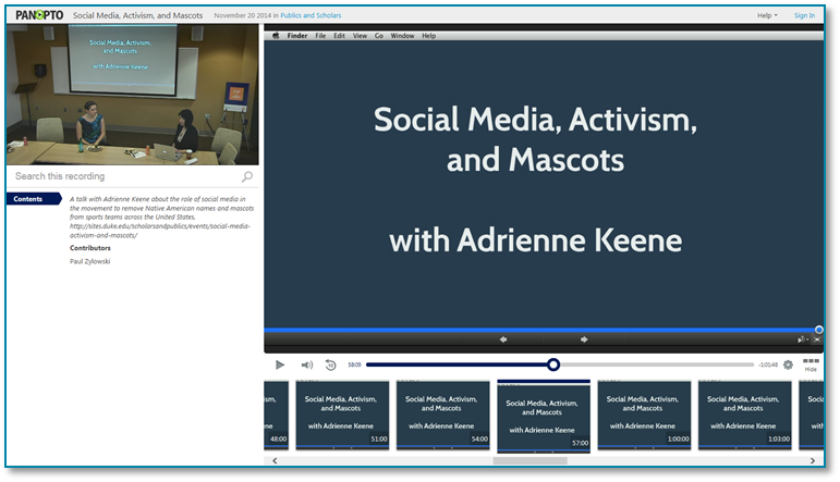 Social Media Activism and Mascots - Panopto Video Presentation Software