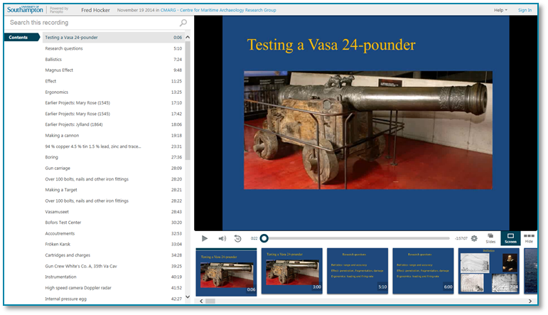 Testing a 17th Century Cannon - Panopto Video Presentation Software