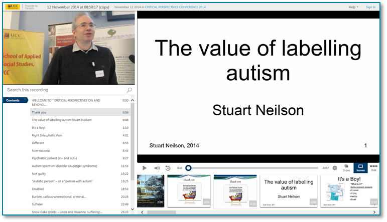 Value of Labelling Autism - Panopto Video Presentation Software