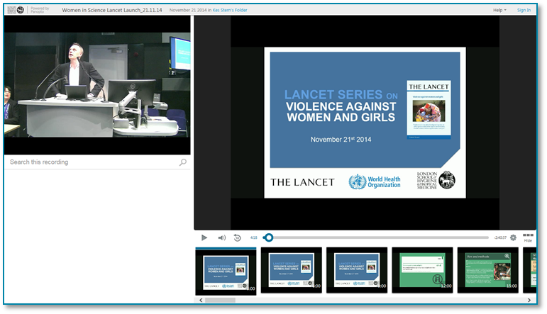 Violence Against Women Series - Panopto Video Presentation Software
