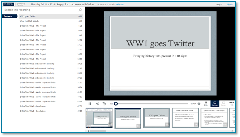 WW1 Goes Twitter - Panopto Video Presentation Software