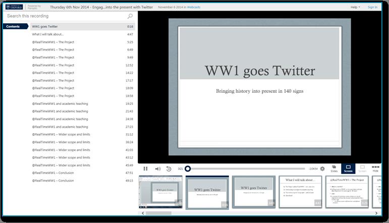 WW1 Goes Twitter - Panopto Video-Präsentations-Software