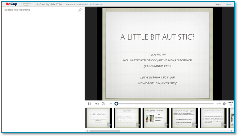 A Little Bit Autistic - Panopto Video Presentation Software