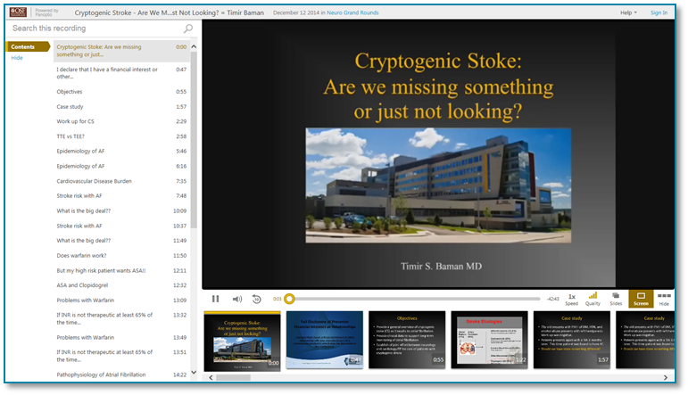 Cryptogenic Stroke - Panopto Video Presentation Software