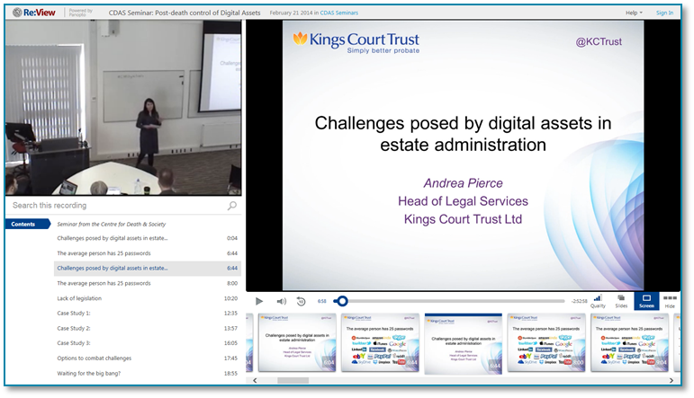 Digital Assets in Estate Administration - Panopto Video Presentation Software