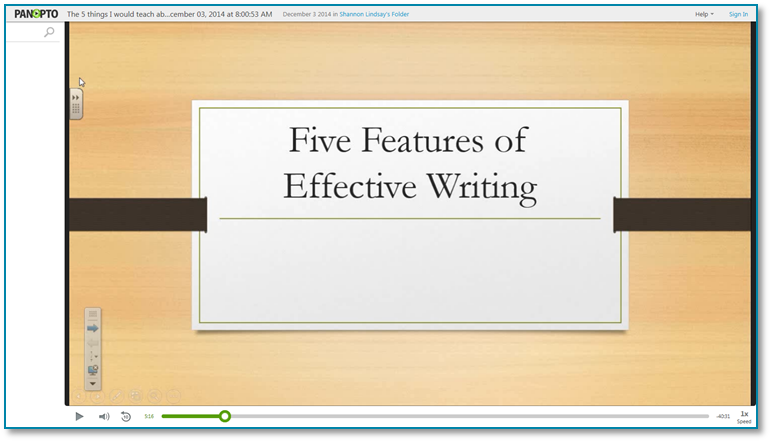 Five Things I Would Teach About Writing - Panopto Video Presentation Software