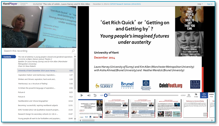 Role of Celebrity in Young Peoples Aspirations - Panopto Video Presentation Software