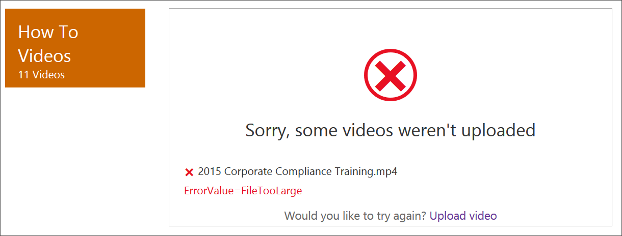 SharePoint Office 365 Video File Size Max
