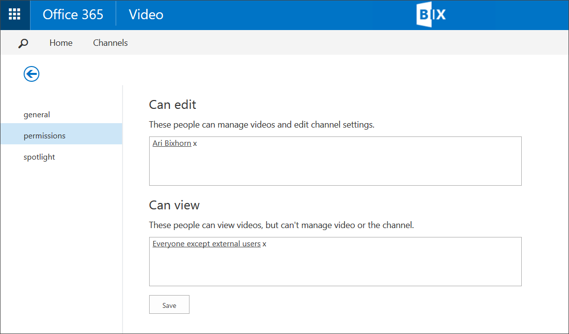 SharePoint Office 365 Video Permissions