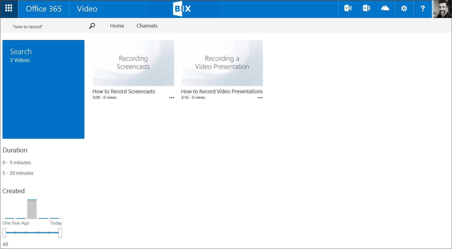 SharePoint Office 365 Video Search Results