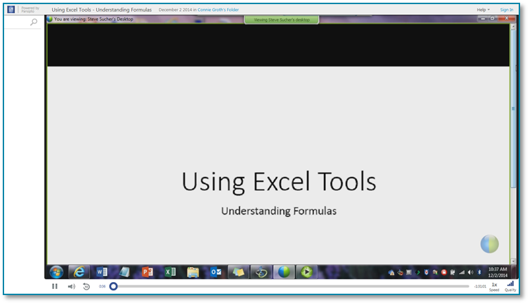 Using Excel Tools - Panopto Video Presentation Software