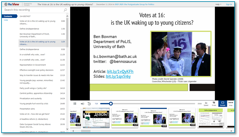 Votes At 16 - Panopto Video Presentation Software