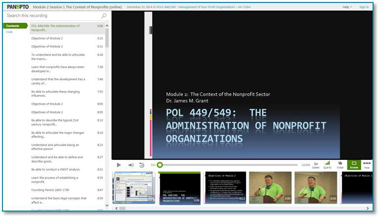 Administration of Nonprofit Organizations - Panopto Video Presentation Software