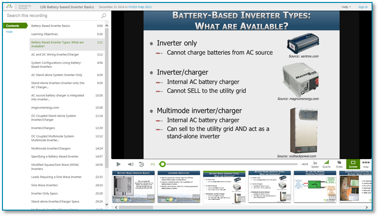 Battery Based Inverter Types - Panopto Video Presentation Software