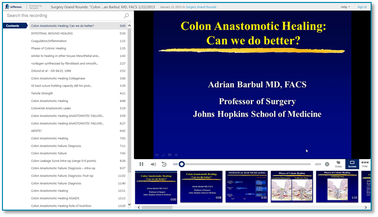 Colon Anastomotic Healing - Panopto Video Presentation Software