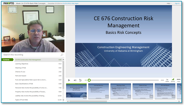 Contruction Risk Management Basics - Panopto Video Presentation Software