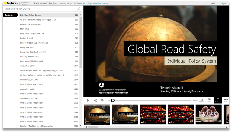 Global Road Safety - Panopto Video Presentation Software
