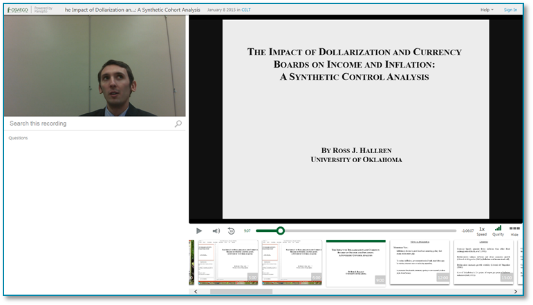 Impact of Dollarization and Currency Boards on Income - Panopto Video Presentation Software