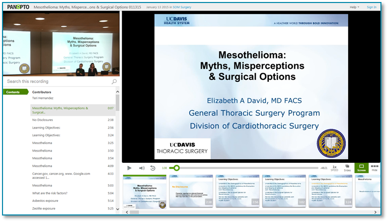 Mesothelioma Surgical Options - Panopto Video Presentation Recording Software