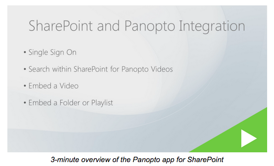 Panopto SharePoint app Overview - Panopto Video Platform