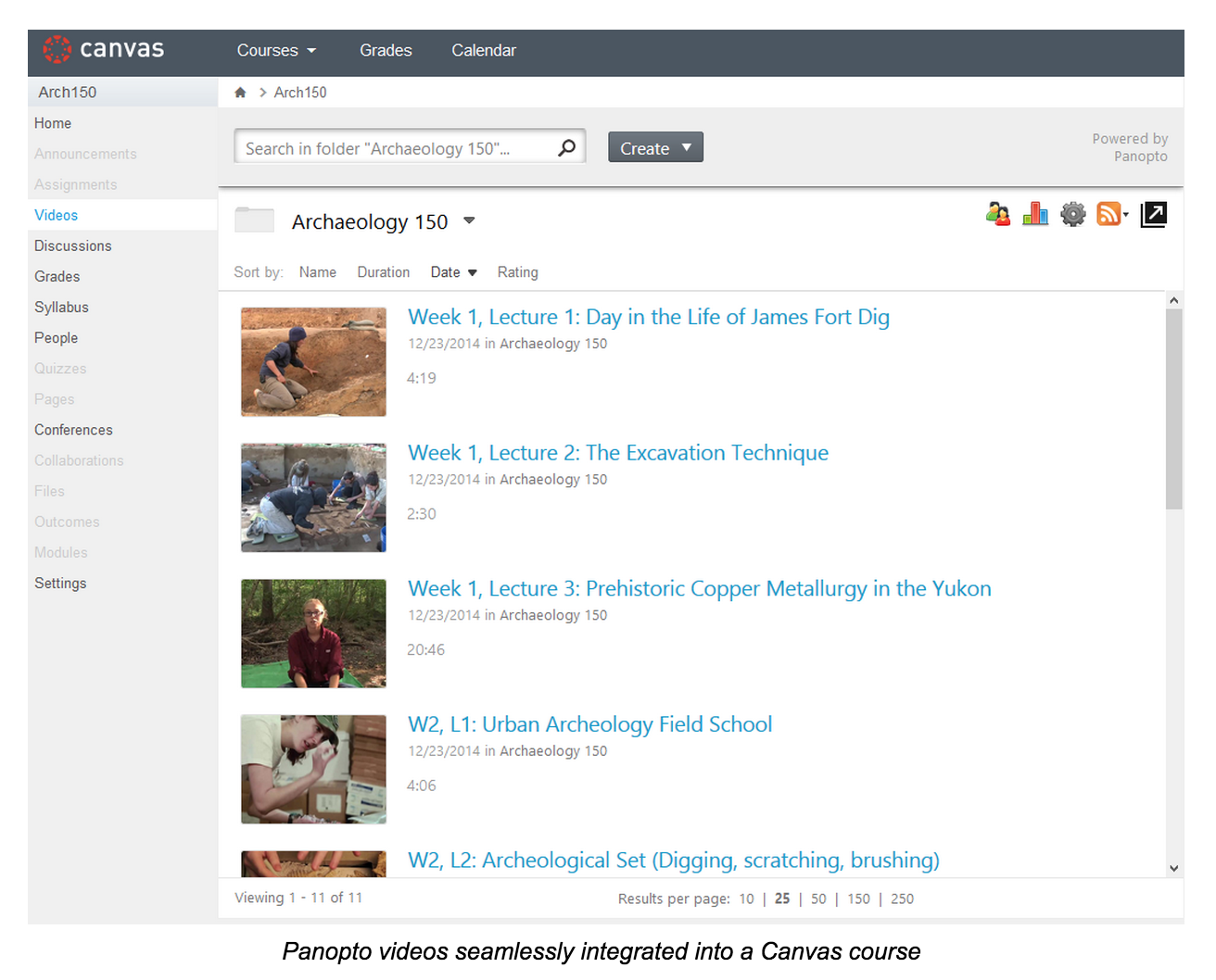 Panopto Videos Integrated Into Canvas Course