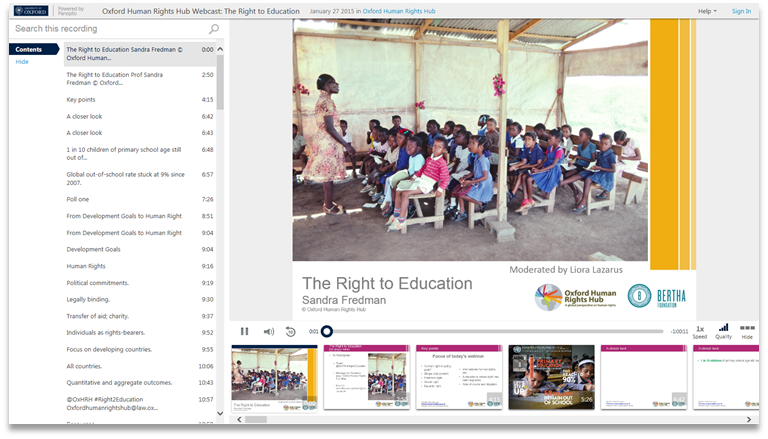 Right to Education - Panopto Video Presentation Software