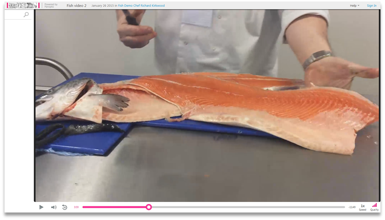 Salmon Demonstration - Hospitality Food Enterprise - Panopto Video Presentation Software