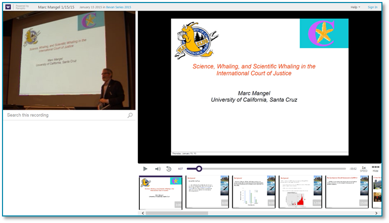 Science Whaling and the International Court of Justice  - Panopto Video Presentation Software