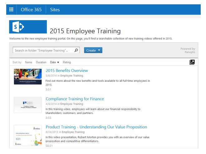 SharePoint Video Playlists with Panopto Video Platform