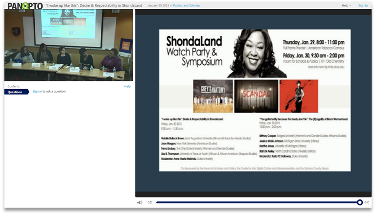 ShondaLand Symposium - Panopto Video Presentation Software