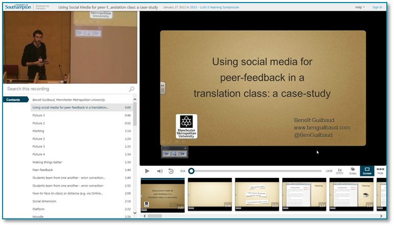 Social Media for Peer Feedback - Panopto Video Presentation Software