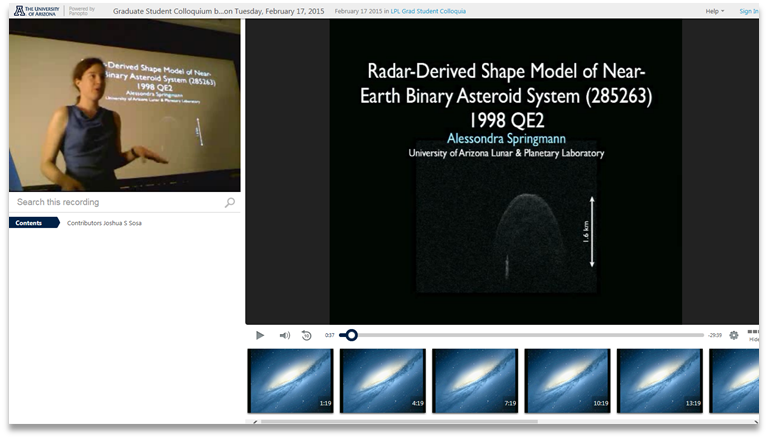 Binary Asteroid System - Panopto Video Presentation Software