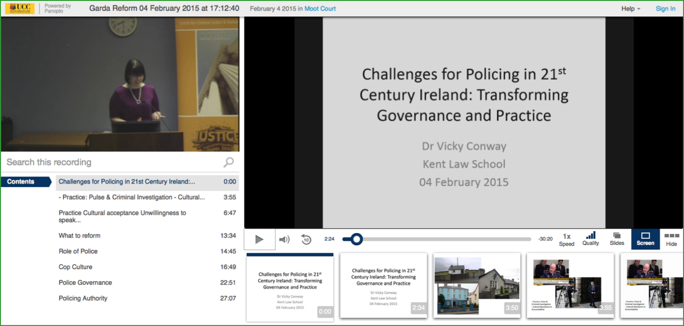 Challenges for Policing 21st Century Ireland Presentation - Panopto Video Platform