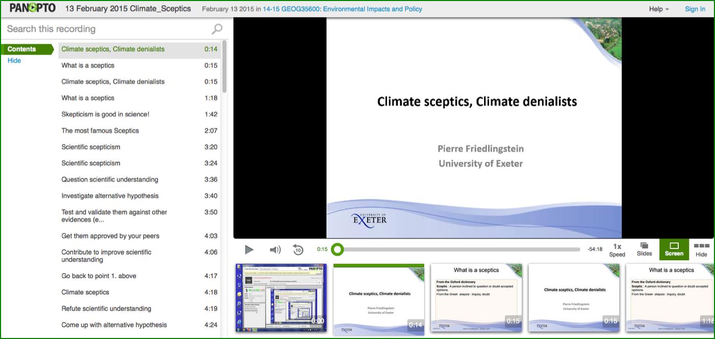 Climate Sceptics Presentation - Panopto Video Platform