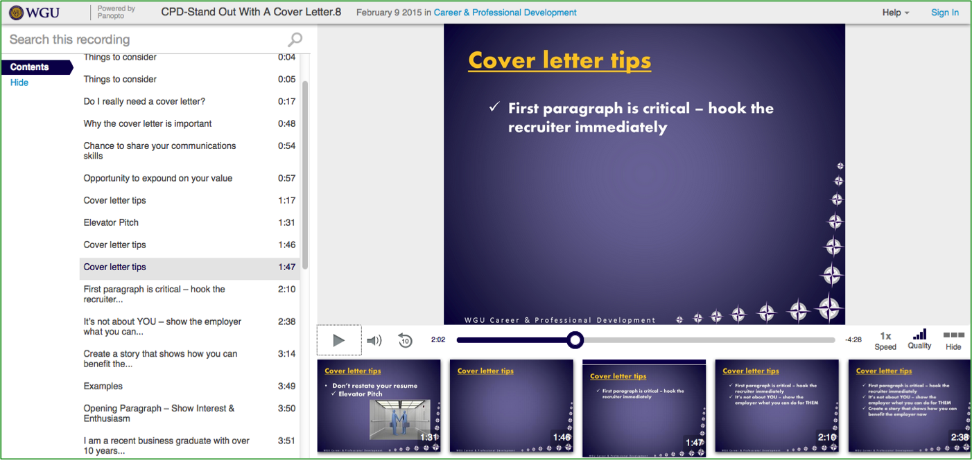 Cover Letter Tips Presentation - Panopto Video Platform
