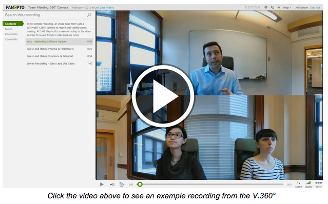 Example 360 Degree Recording - Panopto Meeting Recording Platform