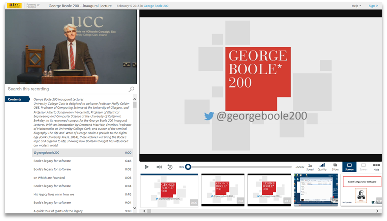 George Boole 200 - Panopto Video Presentation Software