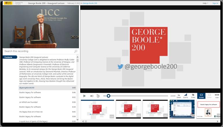 ジョージ・ブール 200 - Panopto ビデオ・プレゼンテーション・ソフトウェア