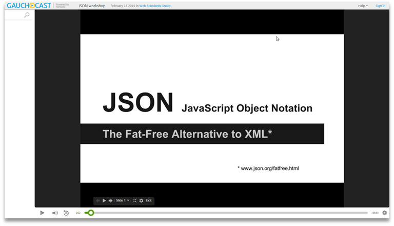 JSON Introduction - Panopto Video Presentation Software