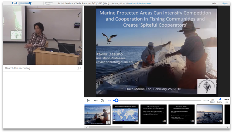 Marine Protected Areas and Spiteful Cooperators - Panopto Video Presentation Software