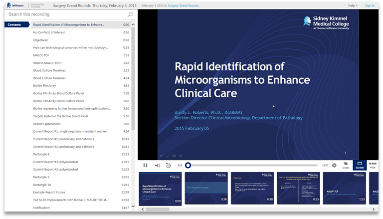 Rapid ID of microorganisms to enhance clinical care - Panopto Video Presentation Software