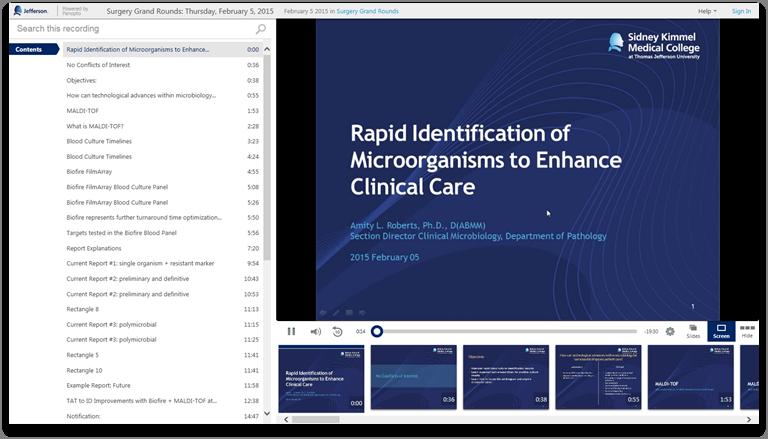 臨床治療を向上させる微生物の迅速な同定 - Panopto Video Presentation Software