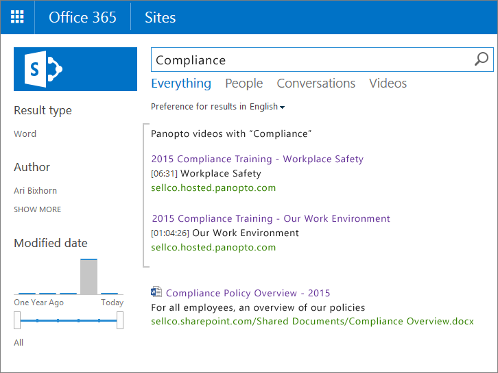 Search Video Content in SharePoint - Panopto Video Platform