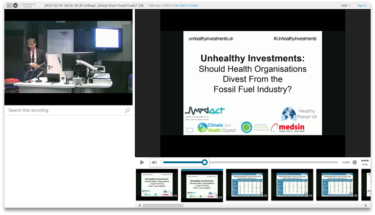 Should Health Organization Divest From Fossil Fuels - Panopto Video Presentation Software
