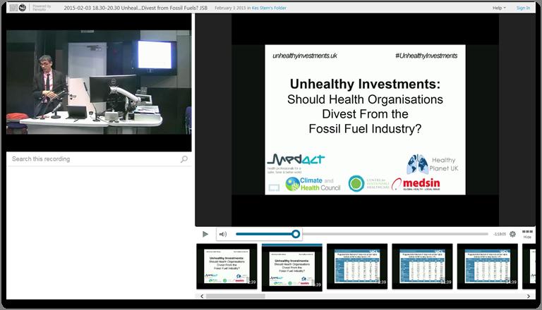 医療機関は化石燃料からの分離をすべきか - Panopto Video Presentation Software