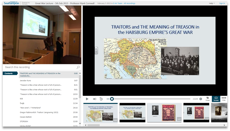 Traitors and Treason in the Great War - Panopto Video Presentation Software