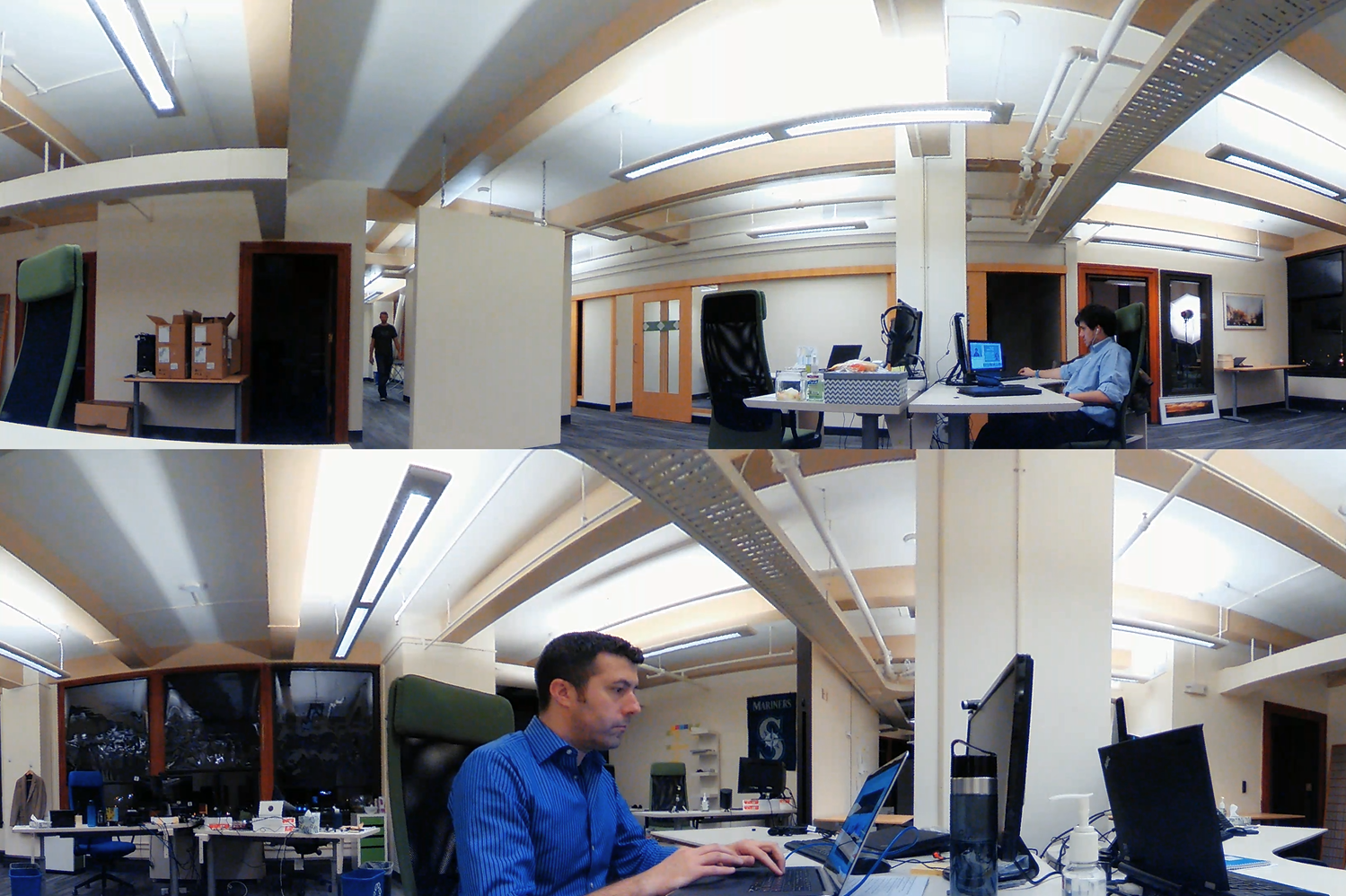 The stacked 3240x1080 view as captured by the V.360° - meeting recording devices